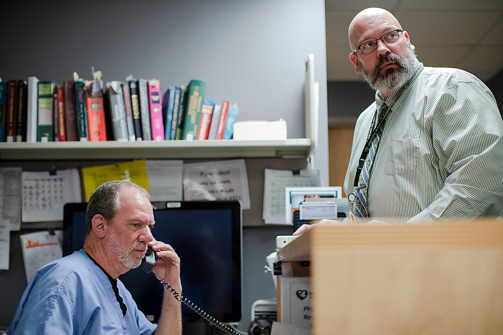 Tom Cheatle, MD, Methodist Jennie Edmundson Hospital Emergency Department physician; and Courtney Schmid, MSN, RN, emergency services director.