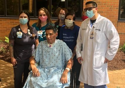 COVID-19 survivor Morris Sandoval after being discharged from Methodist Jennie Edmundson Hospital