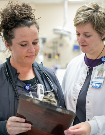 Geriatric resource nurses Jessica Lock and Terri Perry in Methodist Hospital Emergency Department