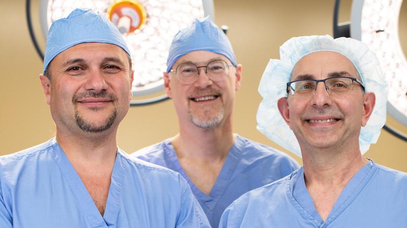 Oleg Militsakh, MD; William Lydiatt, MD; and Mark D'Agostino, MD at Methodist Estabrook Cancer Center