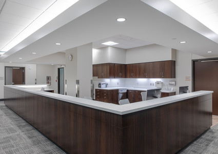 A nurse station in the new Methodist Jennie Edmundson Medical Plaza..
