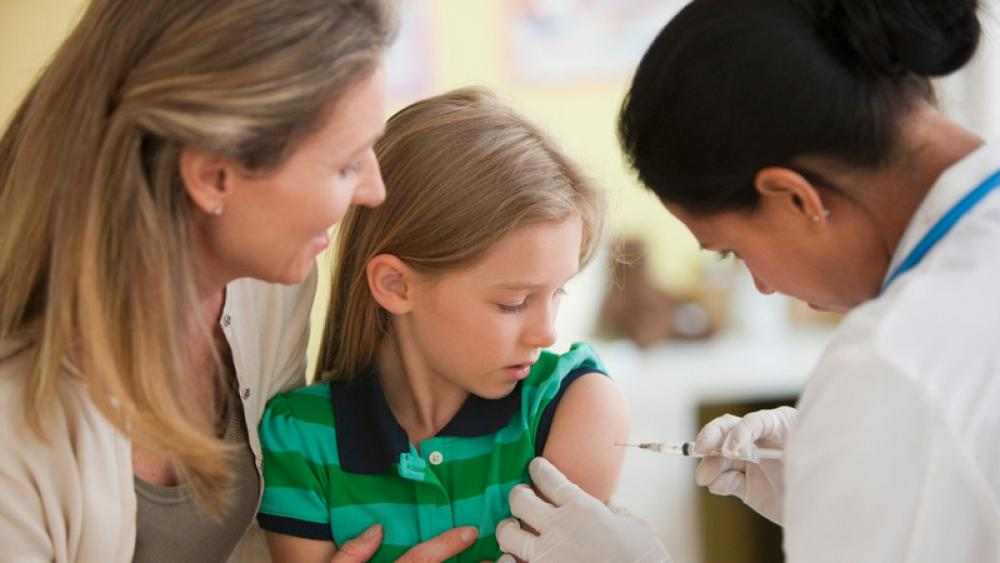Child getting vaccine