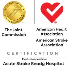 The Joint Commission logo; American Heart Association and American Stroke Association logos